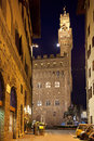 Palazzo vecchio florence italy in firenze tuscany at night Royalty Free Stock Photography