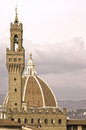 Palazzo vecchio tower and dome unusual view of florence italy Stock Images