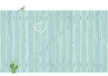 Pale blue wooden fence illustration of slatted with heart shape inscribed and tit on top and dandelion below Royalty Free Stock Photos