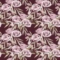 Pale pink roses and peonies with gray leaves on burgundy background. Seamless pattern. Romantic garden flowers Royalty Free Stock Photo