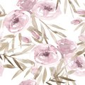 Pale pink roses and peonies with gray leaves on white background. Seamless pattern. Romantic garden flowers illustration