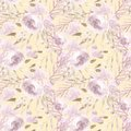Pale pink roses and peonies with gray leaves on yellow background. Seamless pattern. Romantic garden flowers Royalty Free Stock Photo