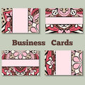 Pale pink template business cards with oriental pattern and geometric circle element.