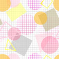 Pale seamless pattern with pink, yellow and grey geometric shape Royalty Free Stock Photo