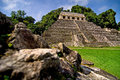 Palenque maya tempel ruins in the jungle of Stock Photo