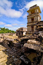 Palenque maya temple ruins in the jungel of Stock Photo