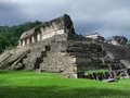 Palenque palace mayan temple ruins at in mexico Stock Images