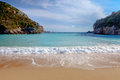 Paleokastritsa beach on corfu greece looking out between the two headlands Royalty Free Stock Image