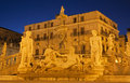 Palermo florentine fountain on piazza pretoria at dusk Stock Photo
