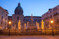 Palermo florentine fountain on piazza pretoria at dusk Royalty Free Stock Photo