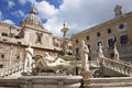 Palermo florentine fountain on piazza pretoria midday Royalty Free Stock Images