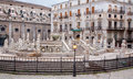 Palermo florentine fountain on piazza pretoria in morning Royalty Free Stock Image