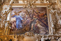 Palermo fresco of jesus and christian with the corss from side nave in church la chiesa del gesu or casa professa baroque Royalty Free Stock Images