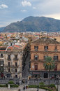 PALERMO, ITALY – 03 January 2017: From the roof of Palermo Cathedral you can see amazing cityscape of Palermo. Nice mountain.