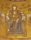 Palermo madonna on throne from main apse of monreale cathedral church is wonderful example norman architecture was Stock Images