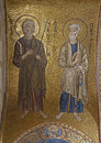 Palermo mosaic of apostle peter and andrew from in church of santa maria dell ammiraglio or la martorana cent on april Stock Images