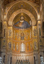Palermo mosaics of main apse of monreale cathedral church is wonderful example norman architecture was completed Stock Photography