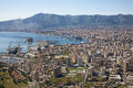 Palermo outlook over city and harbor form mount pelegrino Stock Image