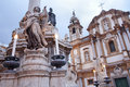 Palermo saint dominic church and baroque column san domenico Stock Photography