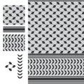 Palestine Keffieh black white seamless pattern