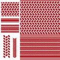 Palestine Keffieh red white seamless pattern