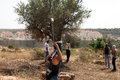 Palestinian protester shooting rock at protest bil in palestine may th a using his slingshot to shoot a the army on the other side Royalty Free Stock Photo