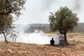 Palestinians by tear gas and the separation wall bil in palestine may th two young close to a spreading cloud of shot at them Stock Image