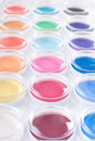Palette of bright multicolored paints vertical Stock Photos