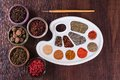 Palette colors of herbs and spices Royalty Free Stock Images