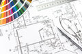 Palette of colors and plan architect s designer s work space during work with technical drawing color samples catalog Stock Images