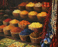 Palette of the orient an oil painting on canvas a colorful market stand in with fruits candies spices and vegetables on display Royalty Free Stock Image