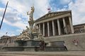 Pallas athena brunnen in front of vienna parliament austria Stock Photos