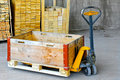 Pallet jack box Royalty Free Stock Images