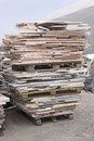 Pallet of marble transportation with stone tiles Stock Photo