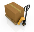 Pallet truck and carton Stock Photography