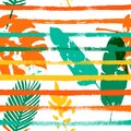 Palm, Banana Leaves Vector Seamless Pattern, Orange Green Vivid Exotic Floral Fabric Design.