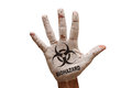Palm biohazard man hand painted caution symbol Stock Photo