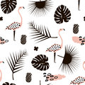 Palm branch trendy seamless pattern with hand drawn elements. Monstera leaf,pinapple,flamingo. Great for fabric, textile Vector Il