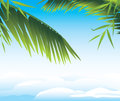 Palm branches on the cloudscape background illustration Stock Image