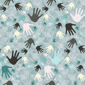 Palm hand seamless vector retro pattern on triangle background Royalty Free Stock Photography