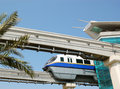 The Palm Jumeirah monorail station and train Royalty Free Stock Photos