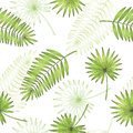 Palm leaf graphic green color seamless pattern sketch illustration