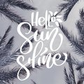 Palm leaves on beach. Template for social networks instagram story. Hand drawn Motivation Quote text Hello Sunshine on photo.