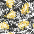 Palm leaves seamless pattern in black and gold colors.