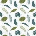 Palm leaves seamless pattern