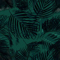 Palm leaves silhouette on the green background. Vector seamless pattern with tropical plants. Royalty Free Stock Photo