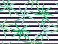 Palm leaves on a striped seamless background. Summer pattern. Vector