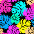 Palm leaves summer funky seamless pattern. Royalty Free Stock Photo