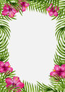 Palm leaves and tropical flower background