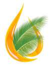 Palm oil. Stylized drop of oil and palm leaves. Stock Photos